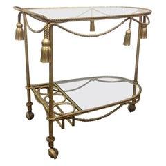 Italian Gilt Metal Rope and Tassel Bar Cart