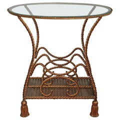 Italian Gilt Metal Rope and Tassel Magazine Holder Table