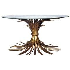 Italian Gilt Metal Sheaf of Wheat Coffee Table