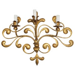 ORNATE ITALIAN SCROLLING WALL LIGHT, circa 1950, triple sconce.