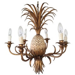 Italian Gilt Pineapple Tole Chandelier, circa 1950s