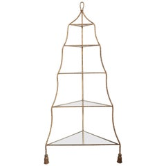 Italian Gilt Rope and Tassel Corner Etagere