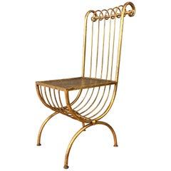 Italian Gilt Scroll Metal Chair