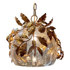 Italian Gilt Tole and Glass Bowl Shaped Lantern