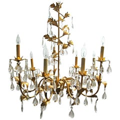 Italian Gilt Tole Chandelier with Crystal Drops