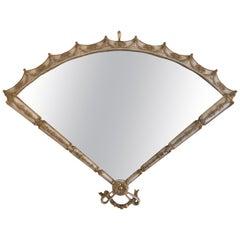 Italian Gilt-Tole Hollywood Regency Fan Shape Mirror