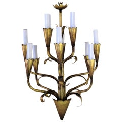 Gilt Tole Metal Leaf Form Chandelier