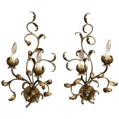 Italian Gilt Wall Sconces with Vine or Leaf Design 'Priced as Pair'