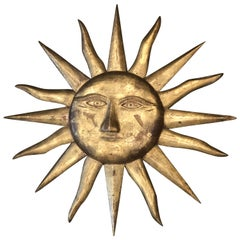 Italian Gilt Wall Sunburst with Face