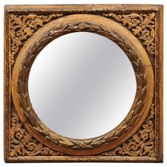 Italian Giltwood Carved Square Frame with Circular Mirror Plate, 19th Century