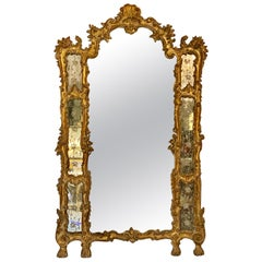 Italian Giltwood Etched Mirror Louis XVI Style, 19th-20th Century