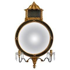 Italian Giltwood Girandole Mirror Pagoda Chinoiserie Style