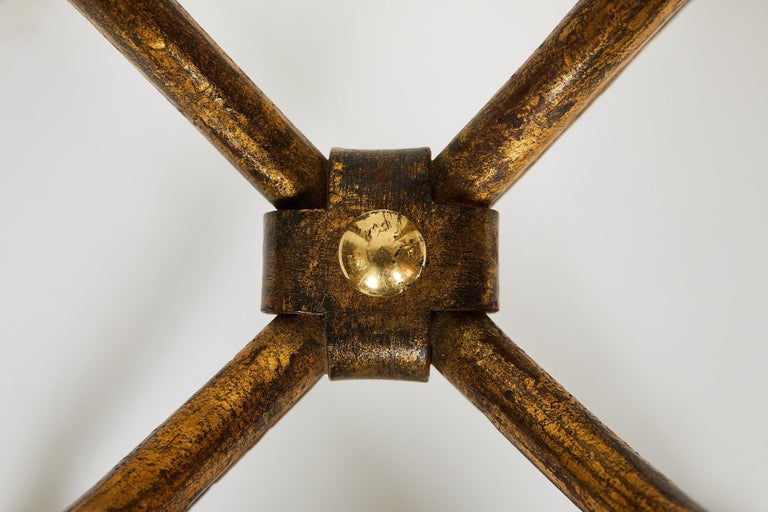 Italian Gilt Wrought Iron and Brass Center Table Base For Sale 2