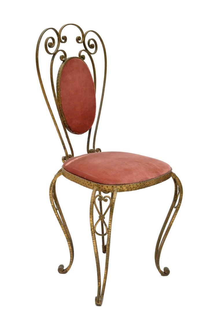 Art Deco Italian Gilt Wrought Iron Vanity Chair Pink Velvet Upholstery Pier Luigi Colli For Sale