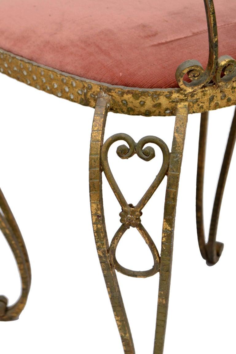 Italian Gilt Wrought Iron Vanity Chair Pink Velvet Upholstery Pier Luigi Colli In Good Condition For Sale In Miami, FL