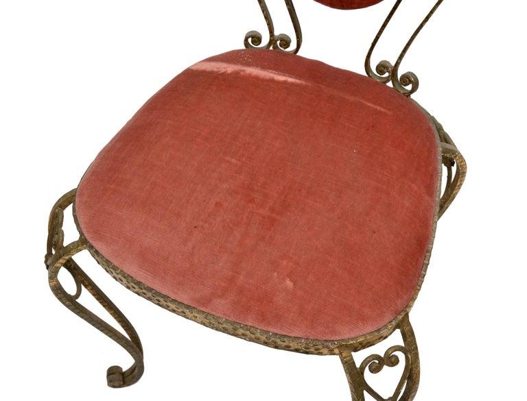 20th Century Italian Gilt Wrought Iron Vanity Chair Pink Velvet Upholstery Pier Luigi Colli For Sale