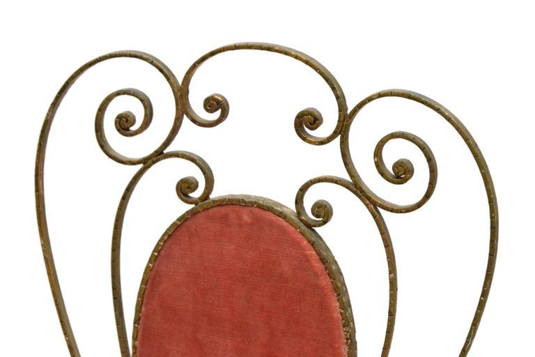 Italian Gilt Wrought Iron Vanity Chair Pink Velvet Upholstery Pier Luigi Colli For Sale 2