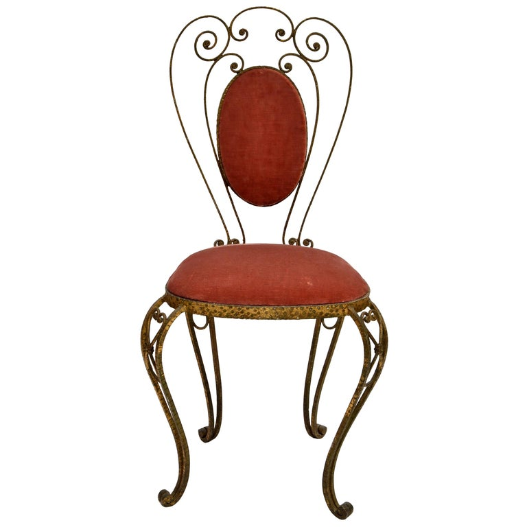 Italian Gilt Wrought Iron Vanity Chair Pink Velvet Upholstery Pier Luigi Colli For Sale