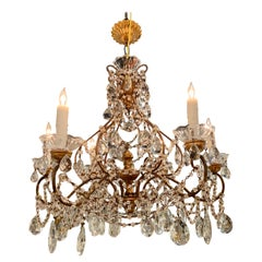 Italian Giltwood and Beaded Crystal Chandelier