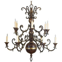 Italian Giltwood and Iron Two-Tier Twelve-Light Chandelier