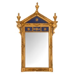 Italian Giltwood and Patinated Cobalt Blue Mirror