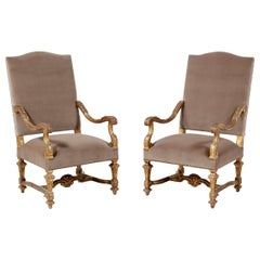 Italian Giltwood And Velvet Armchairs, a Pair