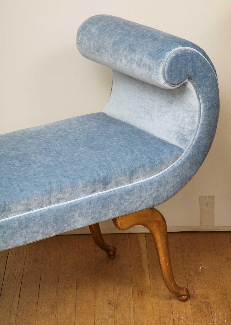 Italian Giltwood Bench in Blue Velvet For Sale 5