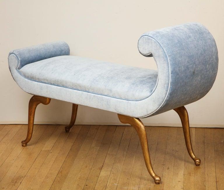 Italian Giltwood Bench in Blue Velvet For Sale 6