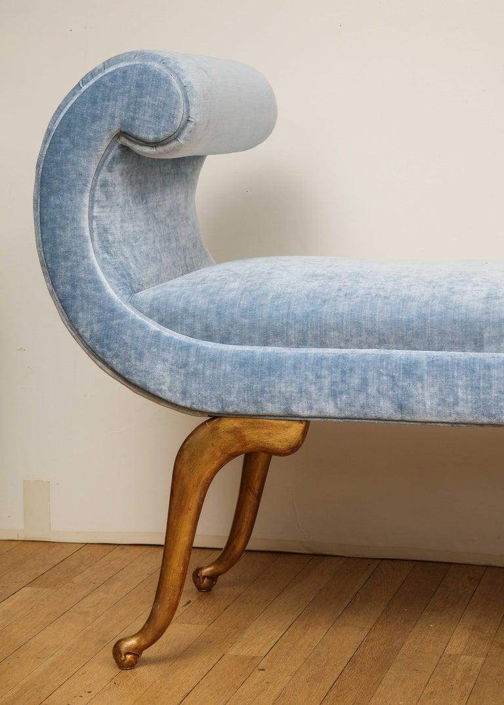 European Italian Giltwood Bench in Blue Velvet For Sale