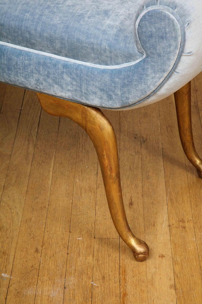 20th Century Italian Giltwood Bench in Blue Velvet For Sale