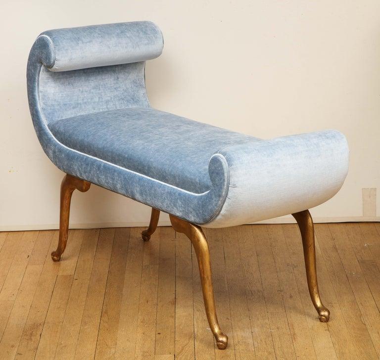 Italian Giltwood Bench in Blue Velvet For Sale 2