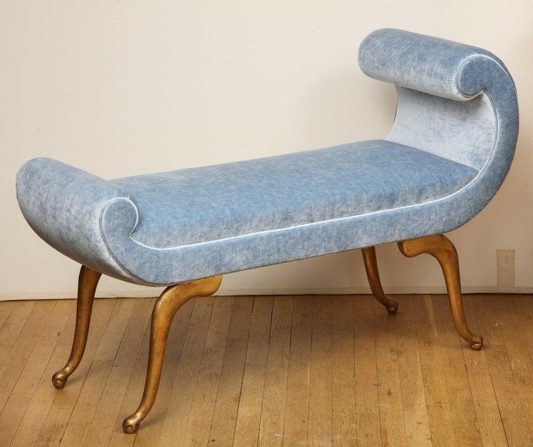 Italian Giltwood Bench in Blue Velvet For Sale 3