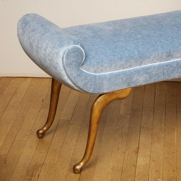 Italian Giltwood Bench in Blue Velvet For Sale 4