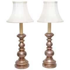 Italian Giltwood Candlestick Lamps