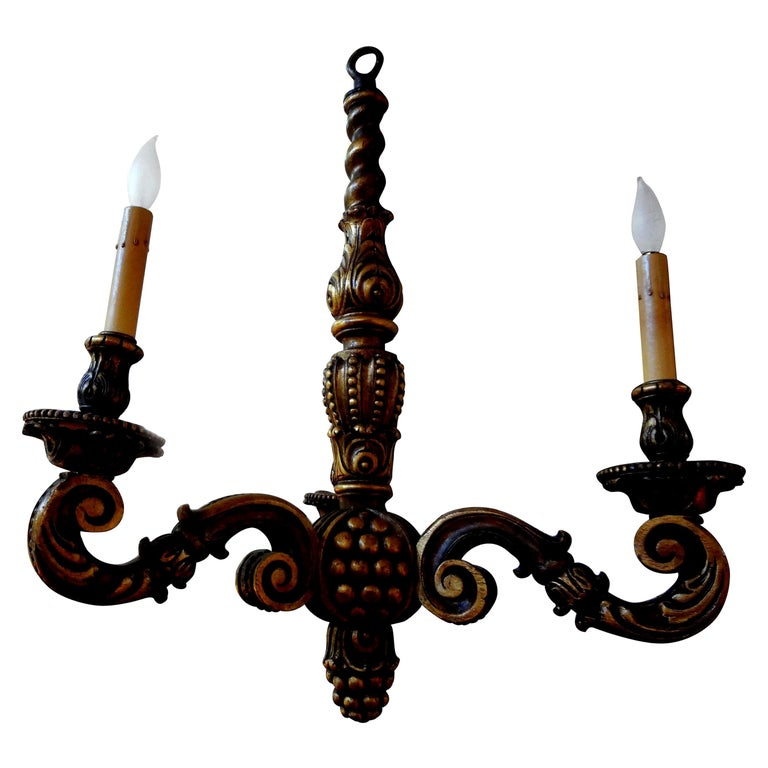 Italian Giltwood Chandelier, circa 1920 For Sale