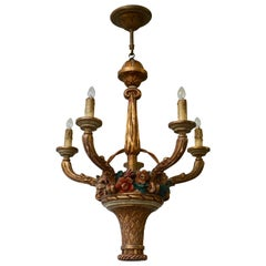 Italian Giltwood Chandelier with Flowers