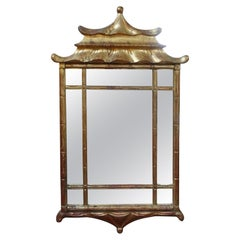 Italian Giltwood Chinese Chippendale or Chinoiserie Style Pagoda Mirror