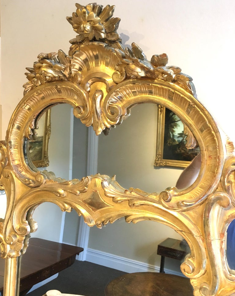 Rococo Revival Italian Giltwood Console Table with Mirror, 19th Century For Sale