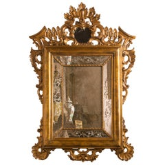 Italian Giltwood Etched Mirror