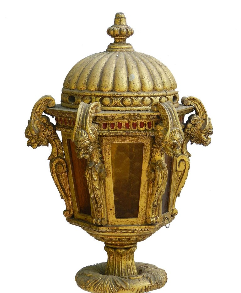 Giltwood floor lamp 19th century Italian Unusual and rare lantern Venetian 'Street' light Easy recover to fabric of your choice originally dusky pink velour now charmingly worn with a faded grandeur Giltwood is superb and glorious slight