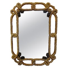 Italian Giltwood Mirror with Rope and Tassels