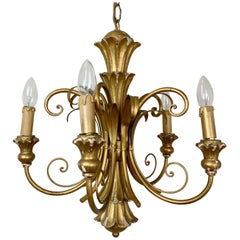 Italian Giltwood Scroll Chandelier, circa 1960s