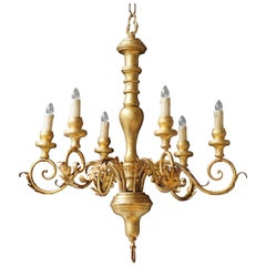 Italian Giltwood Six-Arm Chandelier