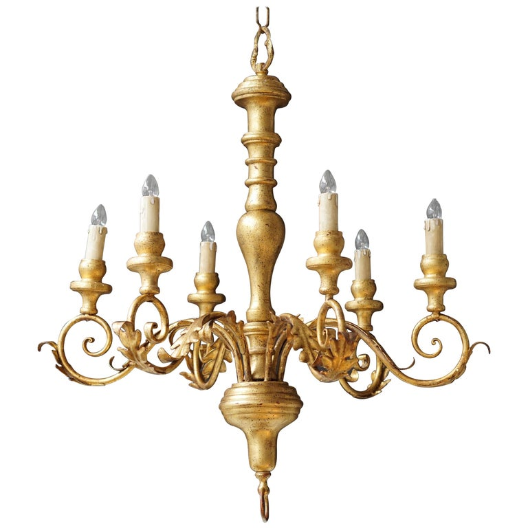 Italian Giltwood Six-Arm Chandelier For Sale