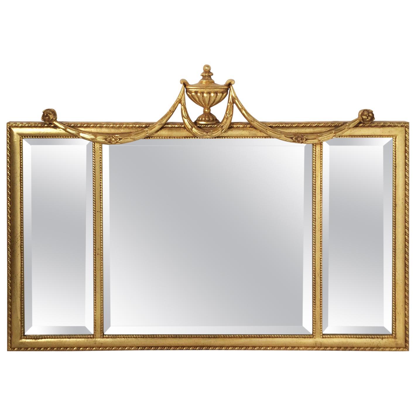 Italian Giltwood Swag Over Mantle Wall Mirror
