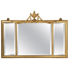 Italian Giltwood Swag Over Mantle Wall Mirror