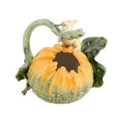 Italian Ginori Majolica Pumpkin Shaped Vase with Bunny Rabbit Eating a Branch
