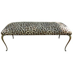 Italian Gio Ponti Inspired Brass Bench Upholstered in Leopard Print Hair Hide