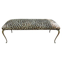 Italian Gio Ponti Inspired Brass Bench Upholstered in Leopard Print Hair Hide