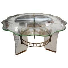 Italian Gio Ponti Inspired Bronze and Glass Table